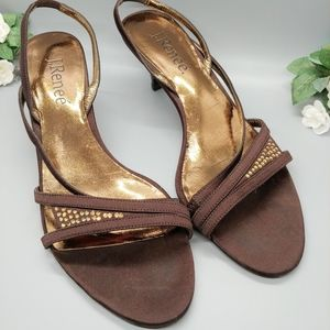 J. Renee | Brown Sandals with Gold Embellishments